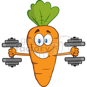 Royalty Free RF Clipart Illustration Smiling Carrot Cartoon Character Exercising With Dumbbells clipart. Royalty-free image # 390223