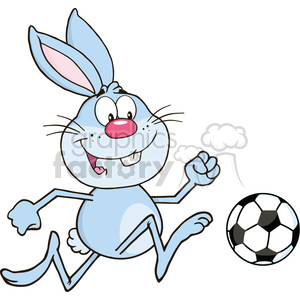 Royalty Free RF Clipart Illustration Cute Blue Rabbit Cartoon Character Playing With Soccer Ball clipart. Commercial use image # 390233