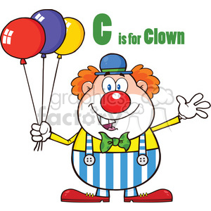 Royalty Free RF Clipart Illustration Funny Clown Cartoon Character With Balloons And Letter C clipart. Royalty-free image # 390243