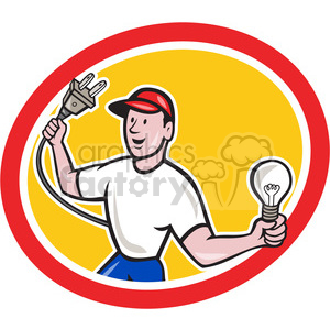 electrician holding bulb plug