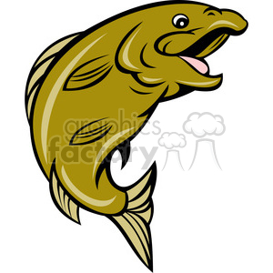 happy fish sideview clipart. Royalty-free image # 390375