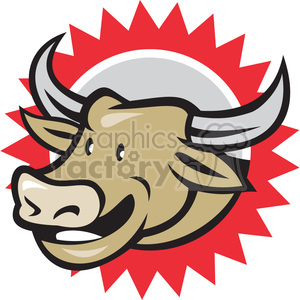 cow farmer pitchfork front HEAD clipart. Royalty-free image # 390395