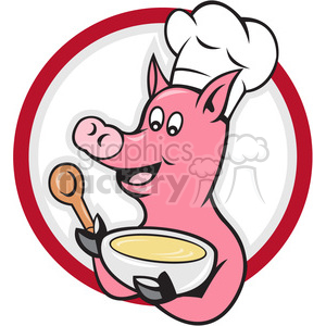 pig chef holding bowl of soup and spoon front