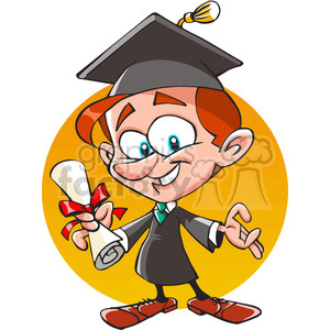 cartoon guy graduating with diploma clipart. Royalty-free image # 390691