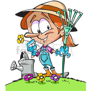 cartoon gardener holding a rake clipart. Royalty-free image # 390727