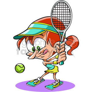 cartoon tennis female player clipart. Commercial use image # 390737