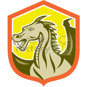 big dragon side yellow shield clipart. Royalty-free image # 391401
