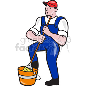 cleaner janitor holding mop bucket clipart. Commercial use image # 391411