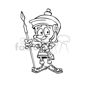roman soldier cartoon black and white clipart. Royalty-free image # 391472