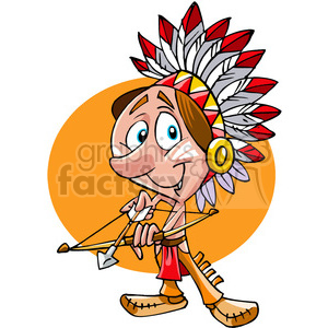 Native American guy bow and arrow cartoon clipart. Royalty-free image # 391494