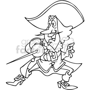 musketeer soldier cartoon in black and white clipart. Commercial use image # 391513