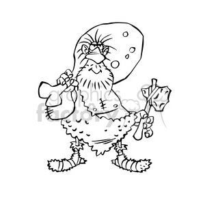 Cavernicola caveman cartoon character bw clipart. Royalty-free image # 391707