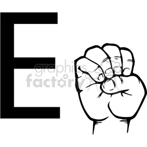 ASL sign language E clipart illustration worksheet