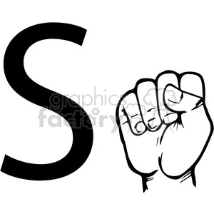 ASL sign language S clipart illustration worksheet