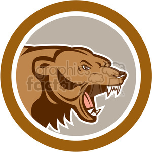 brown bear head angry side shape clipart. Commercial use image # 392369