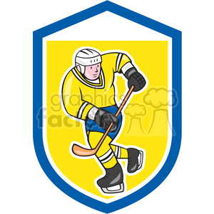 ice hockey player action logo in shield shape clipart. Royalty-free image # 392379