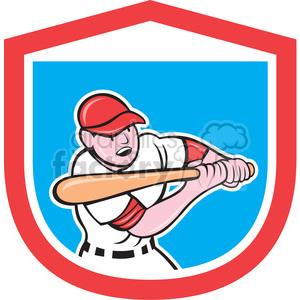 batter swinging in shield shape