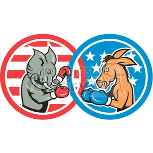 elephant donkey boxing politics in circle shape clipart. Commercial use image # 392439