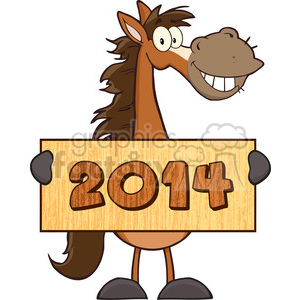 6883_Royalty_Free_Clip_Art_Horse_Cartoon_Mascot_Character_Holding_A_Banner_With_Text clipart. Commercial use image # 393080