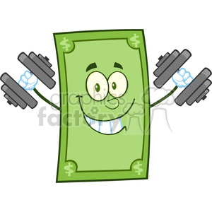 6864_Royalty_Free_Clip_Art_Smiling_Dollar_Cartoon_Character_Training_With_Dumbbells clipart. Royalty-free image # 393120
