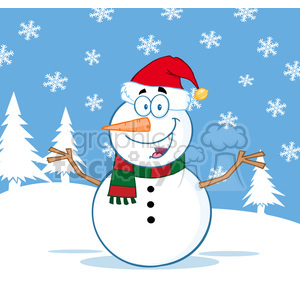 7013 Royalty Free RF Clipart Illustration Happy Snowman Cartoon Mascot Character With Open Arms clipart. Commercial use image # 393199