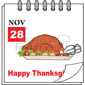 Royalty Free RF Clipart Illustration Thanksgiving Holiday Calendar With Roasted Turkey clipart. Royalty-free image # 393204