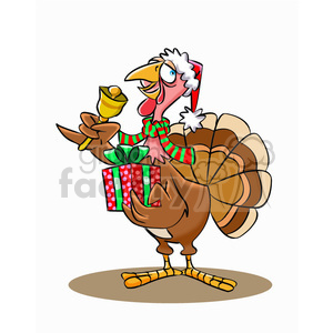 turkey holding a christmas present clipart. Royalty-free image # 393284
