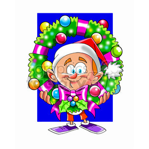cartoon guy holding christmas wreath clipart. Commercial use image # 393458