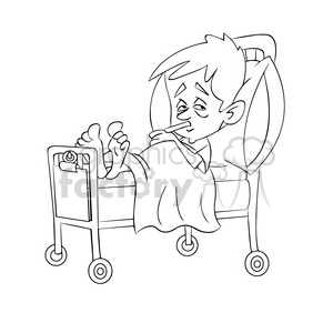 child sick in hospital bed black white clipart. Commercial use image # 393508