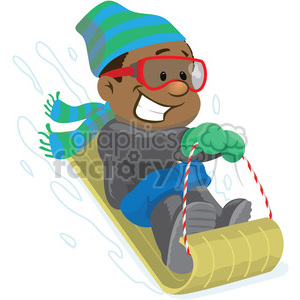 winter fun snow sledding clipart. Commercial use image # 393528