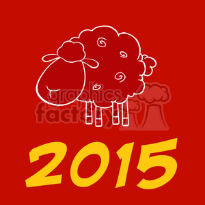Royalty Free Clipart Illustration Happy New Year Of The Sheep 2015 Design Card With Yellow Numbers clipart. Royalty-free image # 393588