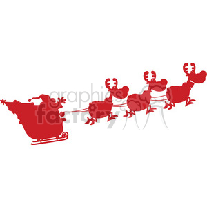Red Silhouettes Of Santa Claus In Flight With His Reindeer And Sleigh Vector Illustration Isolated On White Background clipart. Royalty-free image # 393598
