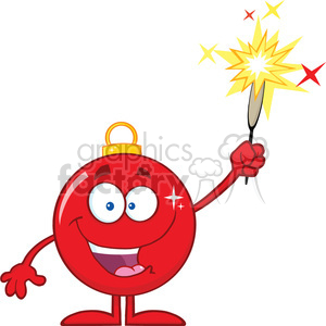 Clipart Illustration Happy Red Christmas Ball Cartoon Character Giving A Fireworks