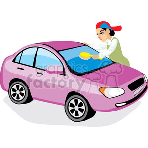 person washing a car clipart. Commercial use image # 393649