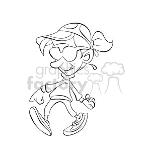 vector black and white cartoon cool kid walking clipart. Royalty-free image # 393669