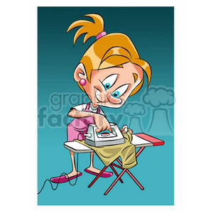 vector girl ironing clothes cartoon clipart. Royalty-free image # 393689