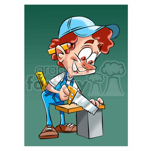 vector cartoon carpenter cutting a board clipart. Commercial use image # 393699