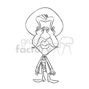 vector val kilmer cartoon character in black and white clipart. Commercial use image # 393719