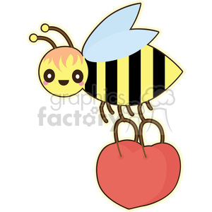 Bee and basket vector clip art image clipart. Commercial use image # 393803