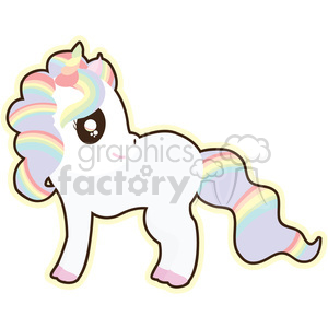 cartoon Rainbow Unicorn illustration clip art image clipart. Commercial use image # 393853