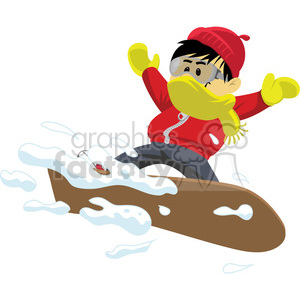 snowboarding boy winter sports clip art image