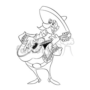 black and white image of man playing guitar mariachi negro clipart. Commercial use image # 393909