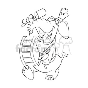 black and white image of an elephant band member elefante tocando bombo negro clipart. Royalty-free image # 393919