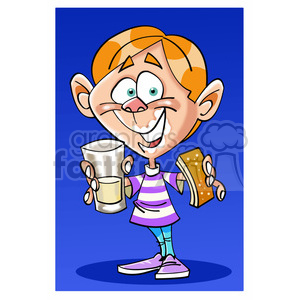 kid eating cookie with milk nino tomando leche clipart. Royalty-free image # 393979