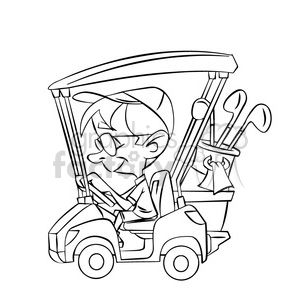 black and white image of man driving a golf cart nino en carro de golf negro clipart. Royalty-free image # 394019