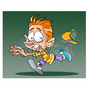 image of boy being chased by boomerang clipart. Commercial use image # 394059