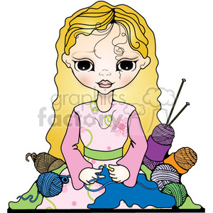 Young Lady Crocheting clipart. Royalty-free image # 394099