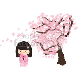 Geisha Cherry Blossom cartoon character illustration clipart. Royalty-free image # 394159
