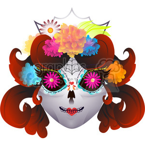 Day of the Dead skull illustration on white 1 clipart. Commercial use image # 394199