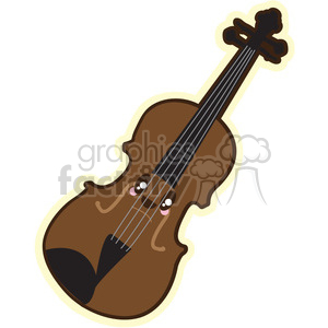 Violin cartoon character illustration clipart. Commercial use image # 394209